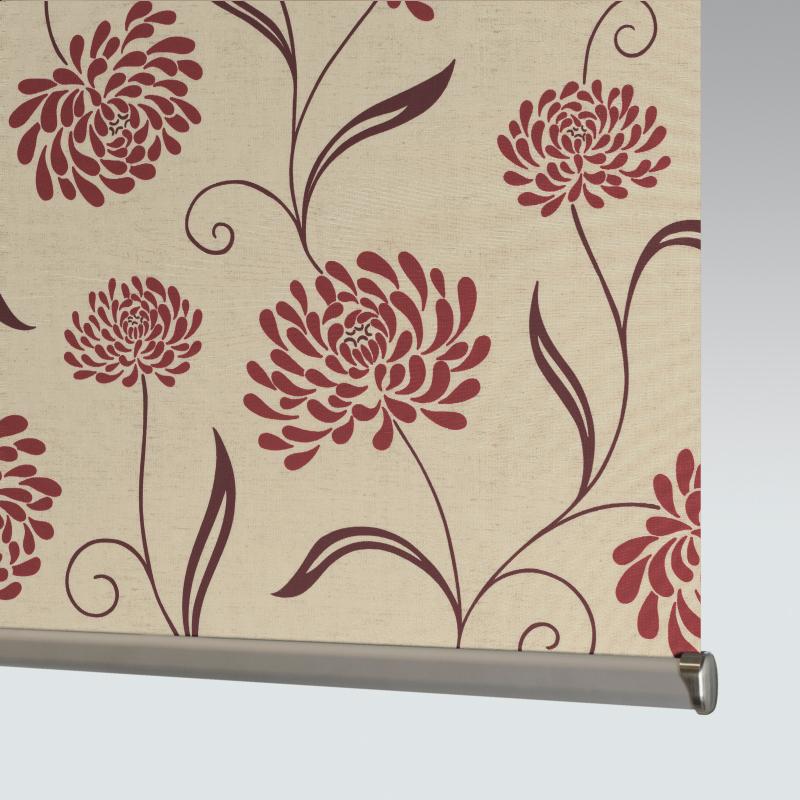 Chrysanth Scarlet Roller Blind